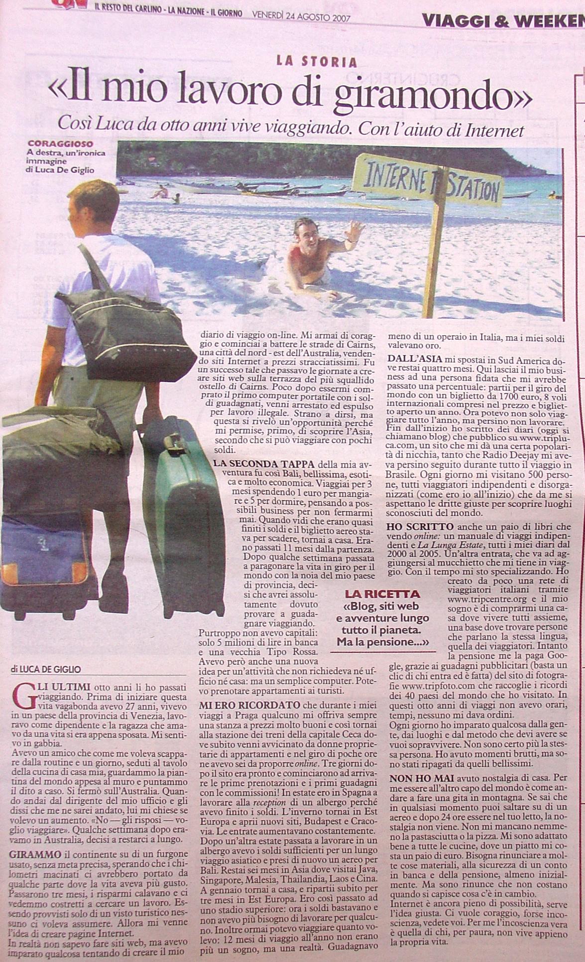 Il mio articolo sul Giorno/Nazione/Resto del Carlino